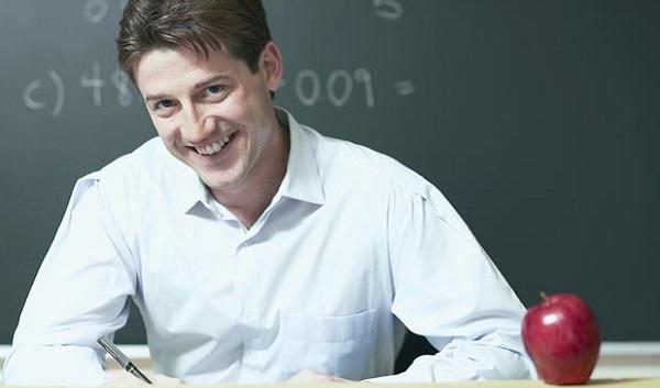 math teacher with apple