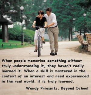 quote about learning by Wendy Priesnitz